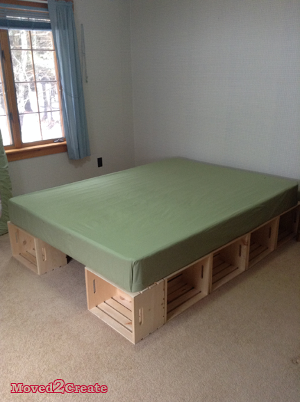 diy wood crate platform bed moved to create